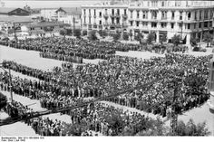 Thessaloniki, Greece, July 1942: Jewish men awaiting registration for hard labor by order of the German occupation authorities.