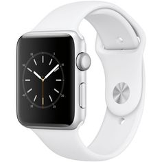 Apple Watch Series 2 42mm Silver-Tone Aluminum Case with White Sport... ($399) ❤ liked on Polyvore featuring jewelry, watches, silver, sport wrist watch, sport watches, white watches, silvertone jewelry and stainless steel watches