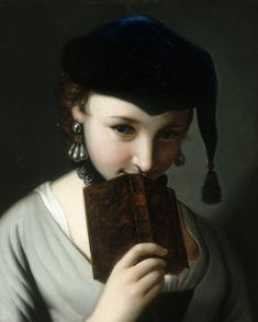 Pietro Antonio Rotari - A Young Woman in a Russian Hat, Holding a Book (18th century)