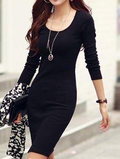 Casual Scoop Neck Solid Color Side Slit Knitted Long Sleeve Women's Dress Long Sleeve Dresses | RoseGal.com Mobile