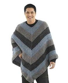 Free Crochet Pattern Lion Brand® Homespun® Mitered Unisex Poncho: Crochet Width cm] at neck. Crochet Men, Poncho Knitting Patterns, Crochet Poncho Patterns, Crochet Gloves, Knitted Poncho, Crochet Shawl, Free Knitting, Free Crochet, Loom Knitting
