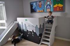 Superhero themed boys room (Via I am momma hear me roar) | Bunk bed + slide = automatic win