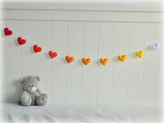 Summer Sunset heart garland - heart banner - Felt hearts in red, orange, yellow and white - nursery decor - ombré