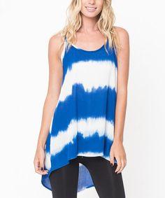 Royal Blue Tie-Dye Stripe Tunic #zulily #zulilyfinds