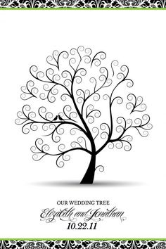 """GUEST BOOK IDEA - posted by Fabulizz - So I am going to provide Green Extra Fine Point Sharpie Pens for people to just sign their names all around the tree.    I designed this as a 24"""" x 36"""" poster and had it mounted on foam core so it's sturdy. Once it's all signed, I can frame it and hang it up in my house! So excited!"""