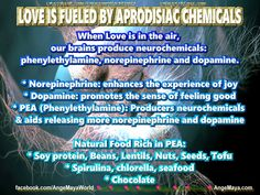 LOVE IS FUELED BY APRODISIAC CHEMICALS  When Love is in the air,  our brains produce neurochemicals:  phenylethylamine, norepinephrine and dopamine.  * Norepinephrine: enhances the experience of joy  * Dopamine: promotes the sense of feeling good  * PEA (Phenylethylamine): Producers neurochemicals  & aids releasing more norepinephrine and dopamine  Natural Food Rich in PEA:  * Soy protein, Beans, Lentils, Nuts, Seeds, Tofu  * Spirulina, chlorella, seafood  * Chocolate…