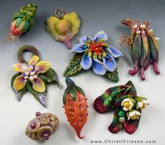 Pods, Blossoms and Buds polymer beads/pendants #polymer #christifriesen #buds # blossoms #pods #beads #pendants