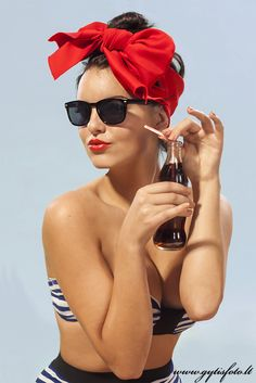 Pin-up girl 2 by ~gytis on deviantART- this would be a fun photo to do for my husband since he loves coke. I could wear my new cat eye sunglasses. fun idea