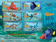 Play Money Finding Nemo plus bonus coloring by AmorPrintables - Frauen Haar Modelle Learning Money, Learning Games, Printable Play Money, Disney Money, Monopoly Money, Bubble Guppies Party, Fantasy Character, Troll Party, Character Design Animation