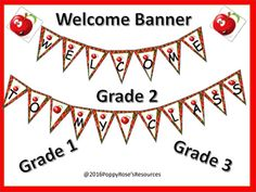 Welcome your students back to school with this apple themed pennant banner. All letters to make the following banners are included:Welcome to my class!Welcome to Grade 1Welcome to Grade 2Welcome to Grade 3Welcome to Grade 4Welcome to Grade 5