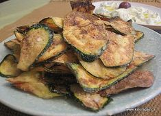 With the warm weather here, I'm beginning to eat outdoors and my mind wanders to Greece: eating outdoors at a taverna with family & friends. Ordering two of everything off the menu is how… Fried Zuccini, Fried Zucchini Chips, Fried Zucchini Recipes, Fried Chips, Healthy Dips, Healthy Cooking, Greek Fries, Greek Appetizers, Greek Cooking