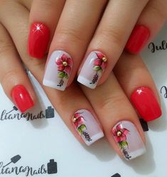 Best Nail Art Designs 2018 Every Girls Will Love These trendy Nails ideas would gain you amazing compliments. Ongles Roses Clairs, Cute Nails, Pretty Nails, Best Nail Art Designs, Flower Nails, Cool Nail Art, French Nails, Red Nails, Manicure And Pedicure