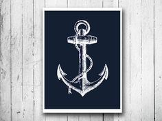 Navy Blue Ship anchor Nautical poster print by EEartstudio on Etsy, $12.00