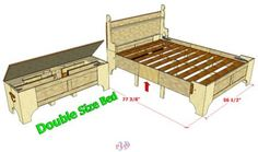 Smaller sized, for a double sized bed, but adjustable, bed in a box plans available at link.