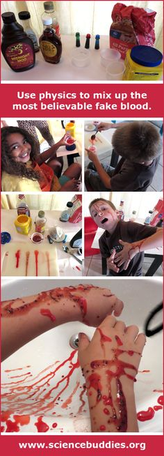 """The Physics of Fake Blood"": How can physics help you mix up the ickiest fake blood to gross out your friends this Halloween? Head to the kitchen to find out! [Source: Science Buddies, http://www.sciencebuddies.org/blog/2015/10/the-physics-of-fake-blood.php?from=Pinterest] #STEM #sciencefair #halloweenscience #scienceproject"