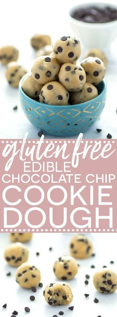 Gluten Free Edible Chocolate Chip Cookie Dough (egg free recipe with a dairy free + vegan option). No bake chocolate chip cookie dough bites. Recipe from @whattheforkblog | whattheforkfoodblog.com | easy gluten free desserts | no-bake recipes | summer des