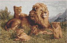 Lion's family | Crafting | Cross-Stitch | Animals