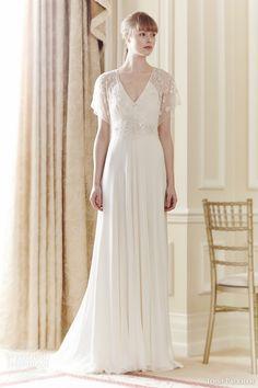 jenny packham bridal 2014 tilly wedding dress flutter sleeves beaded v neck bodice