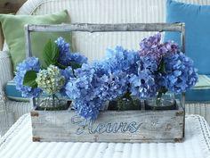 Hydranges blue flowers pretty garden hydrangea centerpiece