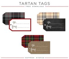 Free Download :: Tartan Christmas Gift Tags
