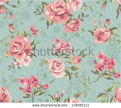 stock vector : seamless cute vintage tiny flower with leaf pattern background