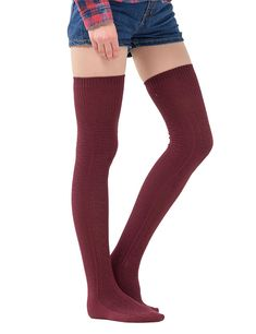 Womens Thigh High Socks Over the Knee High Leg Wamers Girls Winter Warm Crochet Socks Wine Red Thigh High Socks, Thigh Highs, Opaque Stockings, Crochet Socks, Thighs, Legs, How To Wear, Amazon, Clothes
