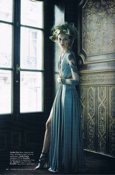 Nimue Smit by Victor Demarchelier. Gaultier Paris dress.