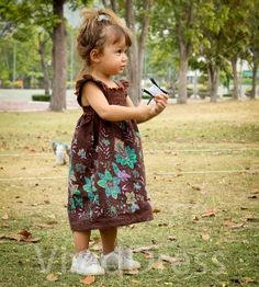 Toddler girl dress size 2T brown cute gift summer by VividDress, $18.00