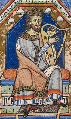 MusicArt King David playing the HARP. The Westminster Psalter (London, c.1200). David (c. 1040-966 a.E.C.) fue un rey israelita, sucesor del rey Saúl y el segundo monarca del Reino de Israel, logrando unificar su territorio e incluso expandirlo.  La historia de David figura en la Biblia, en los Libros del profeta Samuel y en el Libro de los Salmos.David fue uno de los grandes gobernantes de Israel y padre de otro de ellos, Salomón. Es venerado como rey y profeta en el judaísmo, el…