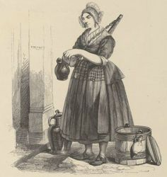 Collectie Historieprenten Provinciale Atlas  Noordhollands melkmeisje schenkt de melk in een kannetje die vroeger bij de deuren van de huizen stonden. ca. 1860. Milkmaid from Noord-Holland pours milk in to jars which were placed in front of the houses. (1860) www.provincialeatlas-nh.nl