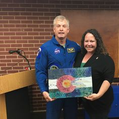 """My art print """"Colorado Flag was purchased as a gift for NASA Astronaut, Commander Steve Swanson, a guest speaker at a local school recently. I was invited to attend his presentation, and was honored to meet him. He considers Colorado his home. Traditional Paintings, Astronaut, Mixed Media Art, Nasa, Wrapped Canvas, Colorado, Original Paintings, Etsy Seller, Presentation"""