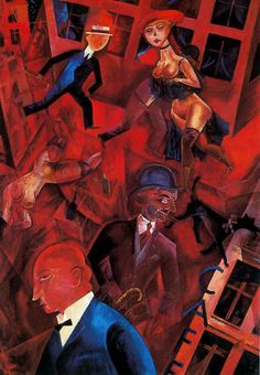 """Oil Painting by George Grosz """"Des Dessin Contre L'ordre Etabli"""" Almost more than any other artist Grosz captured the general sensibilities of his era, Weimar Republic of Germany. Henri Rousseau, Max Oppenheimer, Art Dégénéré, Ludwig Meidner, Karl Schmidt Rottluff, Max Beckmann, George Grosz, Costumes, Watercolor Paintings"""