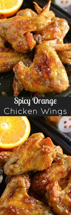 Spicy Orange Chicken Wings. Baked chicken wings slathered in an easy homemade spicy orange glaze will make any party a smash! Orange Chicken Wings Recipe, Baked Chicken Wings, Chicken Wing Recipes, Chicken Meals, Baked Orange Chicken, Glazed Chicken, Instapot Chicken Wings, Asian Chicken Wings, Party Chicken
