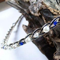 Saltire Blue Scottish Pearl & Crystal Bridal Celtic Weave Headband