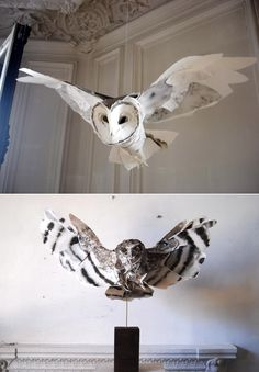 Paper Sculpture : Owl  by Anna-Wili Highfield.  Más esculturas en papel ¡Fantastibulo!
