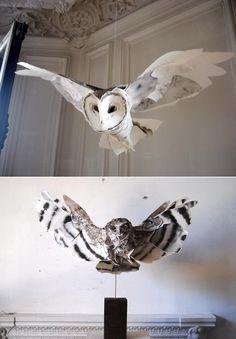 Paper Sculpture : Owl  by Anna-Wili Highfield.