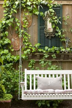 Green and White Ivy Cottage, Outdoor Swing and Ivy Outdoor Rooms, Outdoor Gardens, Outdoor Living, Outdoor Decor, Dream Garden, Home And Garden, Outside Living, Porches, Garden Inspiration