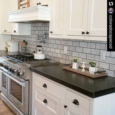 We have 4 words for this pic... KITCHEN . DREAM . COME . TRUE . Ashley @coloradocapecod has things just right and we are delighted to see her enameled breadbox from PFh peeking out, along with lots of other goodies that can be found at Painted Fox! PaintedFoxHome.com #wehavethebestcustomersonearth #farmhouseswag #coloradocapecod #paintedfoxfamily