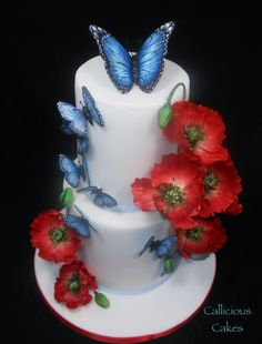 Poppies and Butterflies Cake by Callicious Cakes