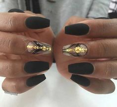 Black Matte Coffin Nails with a Pop of Gold
