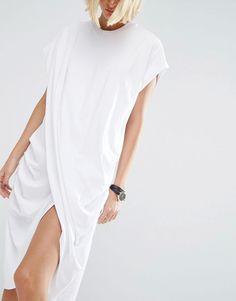 ASOS WHITE Cross Wrap Midi Dress made of cotton jersey
