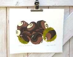 """Lino print """"A handful of horse chestnuts, some in their husks"""" £30.00"""