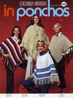 Poncho - I knitted one for a 4H project, and entered it in the fair. It was hot pink and white....wish I still had it!