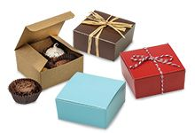 "4 pc Truffle Candy Boxes 2 5/8""x2 3/4""x1 1/4"" $19.80 plus shipping for 50 boxes, various colors, would works great for shipping jewelry"