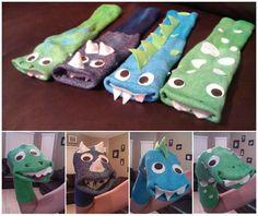 Home-Made Hand-Made Dinosaur Dino Monster Sock Puppets. via Etsy. Dinosaur Puppet, Dinosaur Socks, Dinosaur Crafts, Dinosaur Party, Sock Crafts, Puppet Crafts, Horse Crafts, Sock Puppets, Hand Puppets