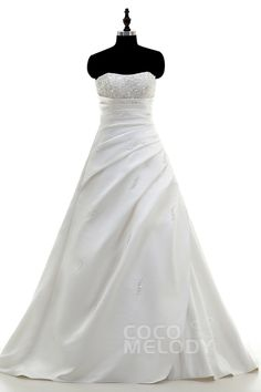 Modern A-Line Sweetheart Train Satin Ivory Lace Up-Corset Wedding Dress with Beading and Pleating HS1821