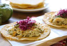 Salsa Verde Chicken Tostadas | Skinnytaste