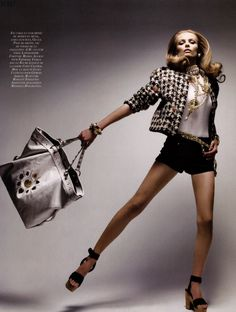 Vogue Paris 2009 celebrated the iconic Chanel bag in this stunning editorial photographed by Patrick Demarchelier. The model is Lithuanian Edita. For me Chanel has never looked more glamorous and fun to wear.