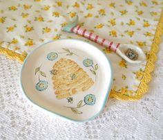 Ceramic Spoon Rest Painted Yellow Bee Hive By CynthiaCranesPottery