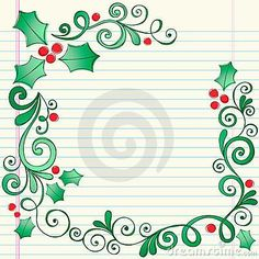 Hand-Drawn Sketchy Doodle Christmas Holly Border by Blue67, via Dreamstime